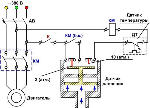 Схема компрессора и датчик