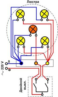 Схема подключения люстры 5 лампочек 325