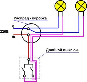 Схема установки двойного выключателя