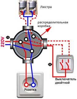 Схема соединения двух выключателей и трех лампочек.