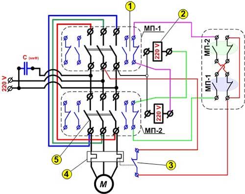 электрическая схема подключения однофазного двигателя.
