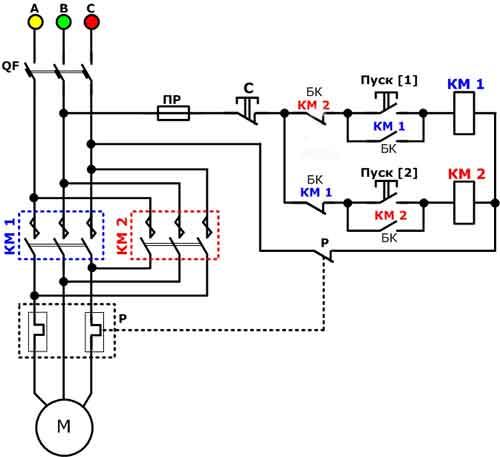 Схема подключение асинхронного двигателя через магнитный пускатель.