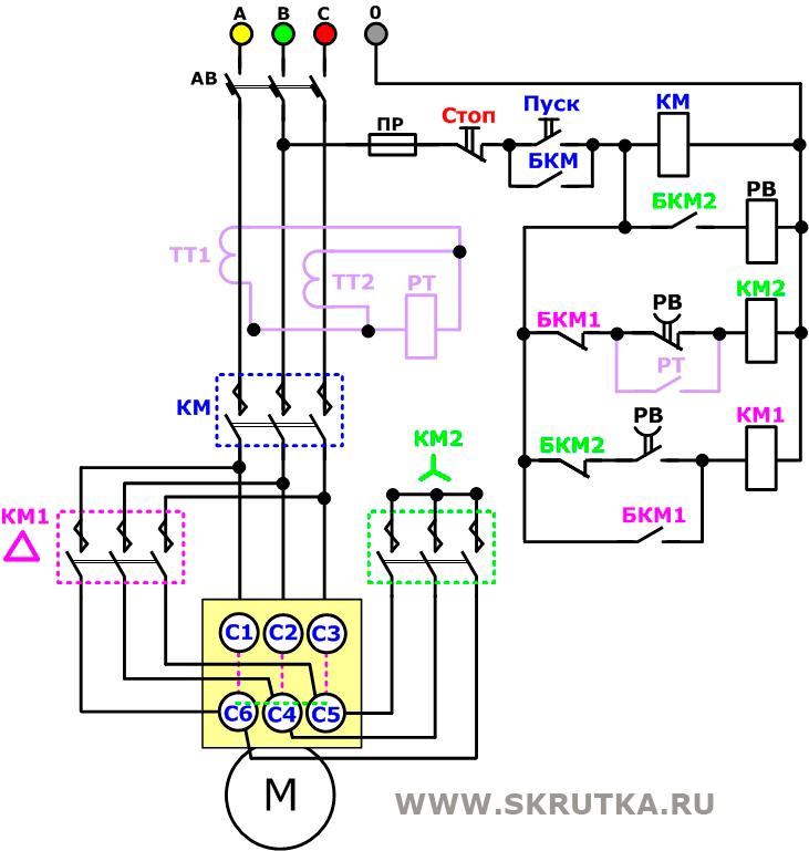 Схема состоит: - Автоматический выключатель; - Три магнитных пускателя КМ, КМ1, КМ2; - Кнопка пуск - стоп...