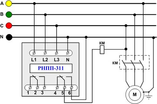 Схема подключения реле РНПП-311.  КМ - катушка магнитного пускателя и силовые контакты.